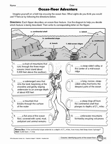 Ocean Floor Worksheets 5th Grade Best Of Science Worksheet Oceans the Mailbox