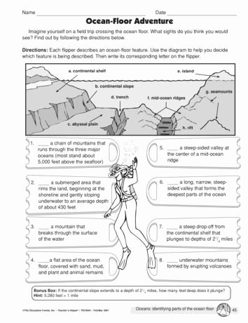 Ocean Floor Worksheets 5th Grade Printable Ocean Floor Worksheets 5th Grade Ocean Floor Adventure