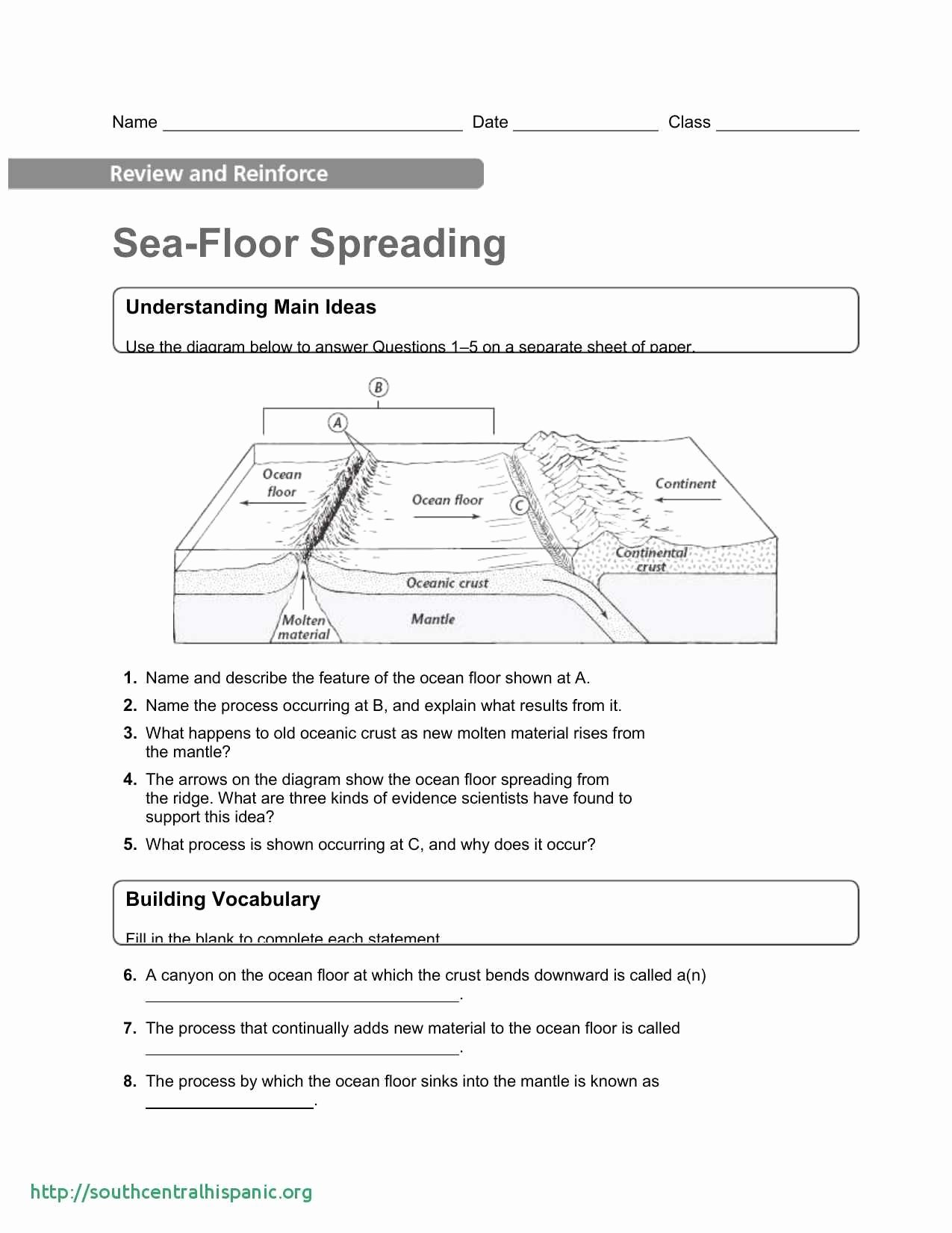Ocean Floor Worksheets 5th Grade top Ocean Floor Features Printable Worksheet