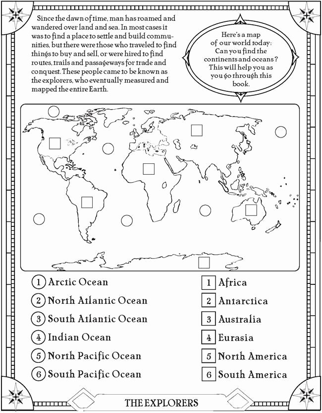 Ocean Worksheets for 2nd Grade Best Of Find the Oceans and Continents Page Free Printable