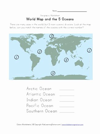 Ocean Worksheets for 2nd Grade Free 5 Oceans Worksheet