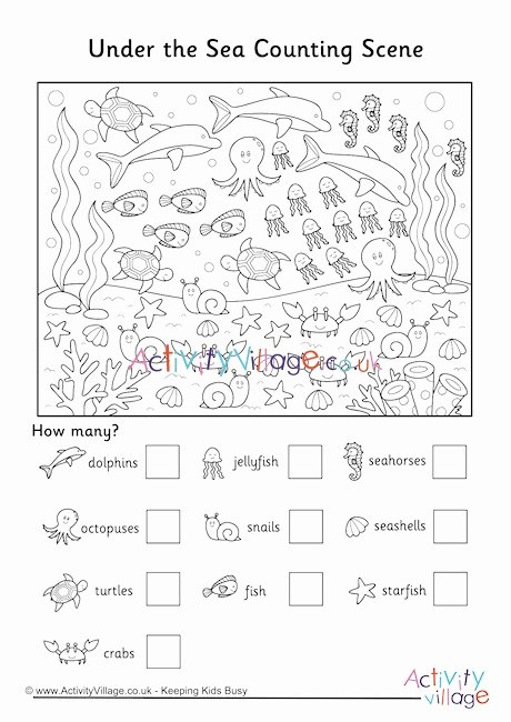 Ocean Worksheets for 2nd Grade Inspirational Under the Sea Counting Scene Worksheet Worksheets Printables