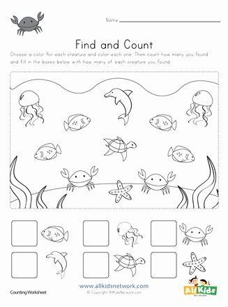 Ocean Worksheets for 2nd Grade Lovely Ocean Find and Count Worksheet