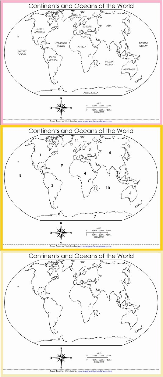 Oceans and Continents Worksheets Printable Printable Printable World Maps