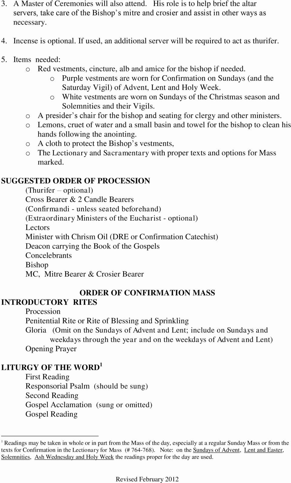 Order Of the Mass Worksheet Printable the Confirmation Liturgy 1 Overview 2 Practical Matters 3