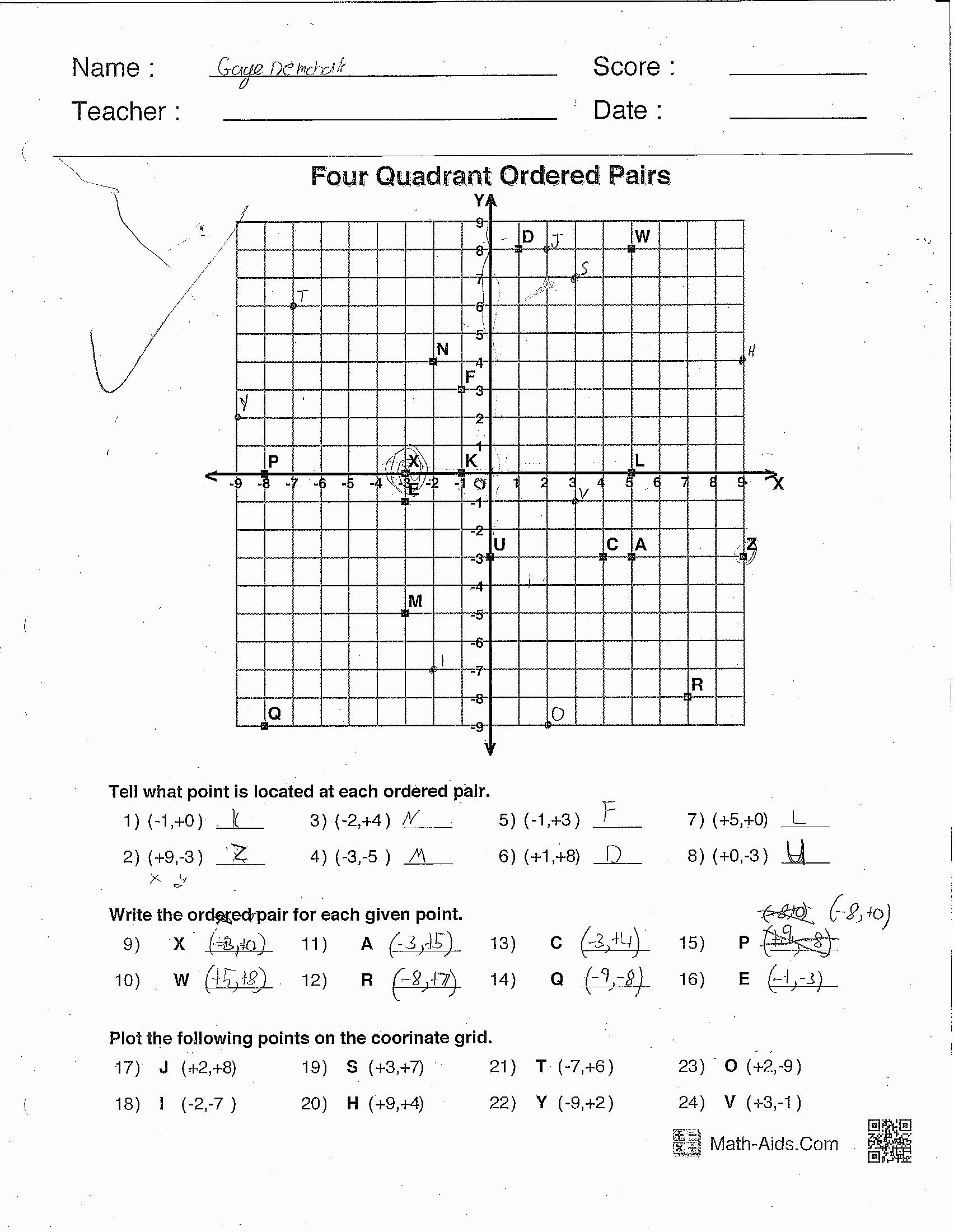 Ordered Pairs Worksheet 5th Grade Printable 5th Grade Math Worksheets ordered Pairs