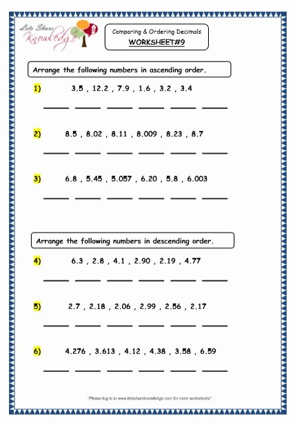 Ordering Decimals Worksheet 5th Grade Free Grade Maths Resources Paring and ordering Decimals