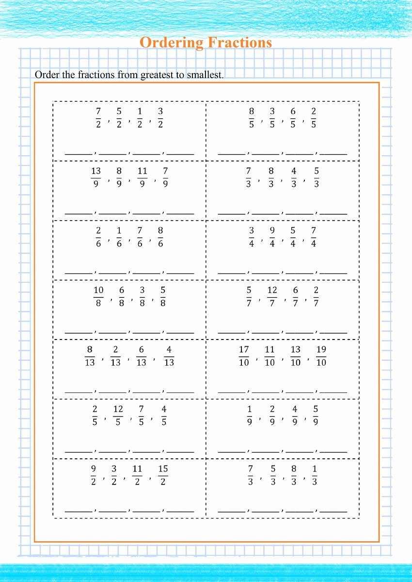 Ordering Fractions Worksheet 4th Grade Best Of ordering Fractions Greatest to Smallest Pdf Free Math