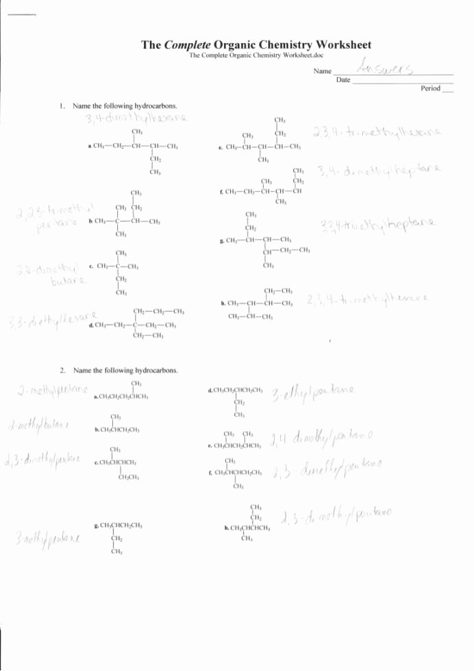 Organic Chemistry Worksheet with Answers Ideas Plete organic Chemistry Worksheet Answers Chem Active