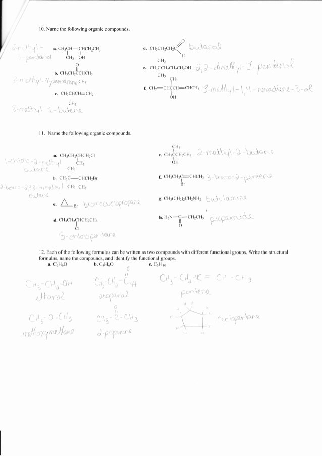 Organic Chemistry Worksheet with Answers Kids Plete organic Chemistry Worksheet Answers