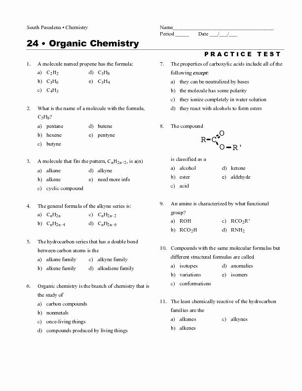 Organic Molecules Worksheet Answer Key Free organic Molecules Worksheet Answer Key organic Chemistry