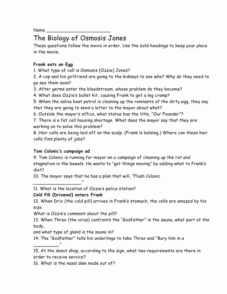 Osmosis Jones Video Worksheet Answers Free Osmosis Jones