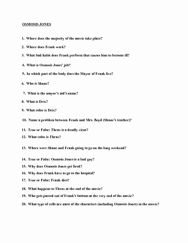 Osmosis Jones Video Worksheet Answers Inspirational Movie Quiz Osmosis Jones Worksheet