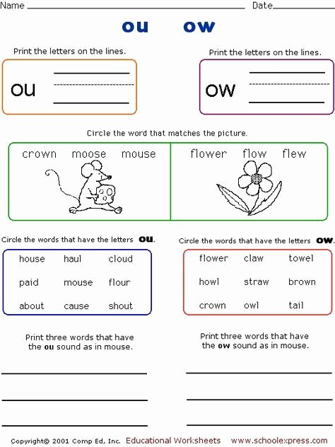 Ou Ow Worksheets 2nd Grade Kids 20 Ou Ow Worksheets