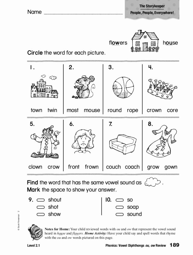 Ou Ow Worksheets 2nd Grade top Phonics Vowel Diphthongs Ou Ow Review Worksheet for 1st