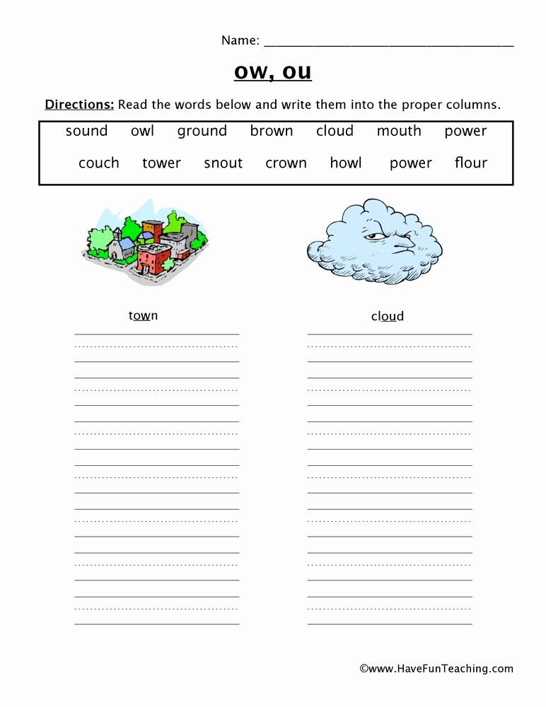Ou Ow Worksheets 3rd Grade New Ow Ou sorting Worksheet