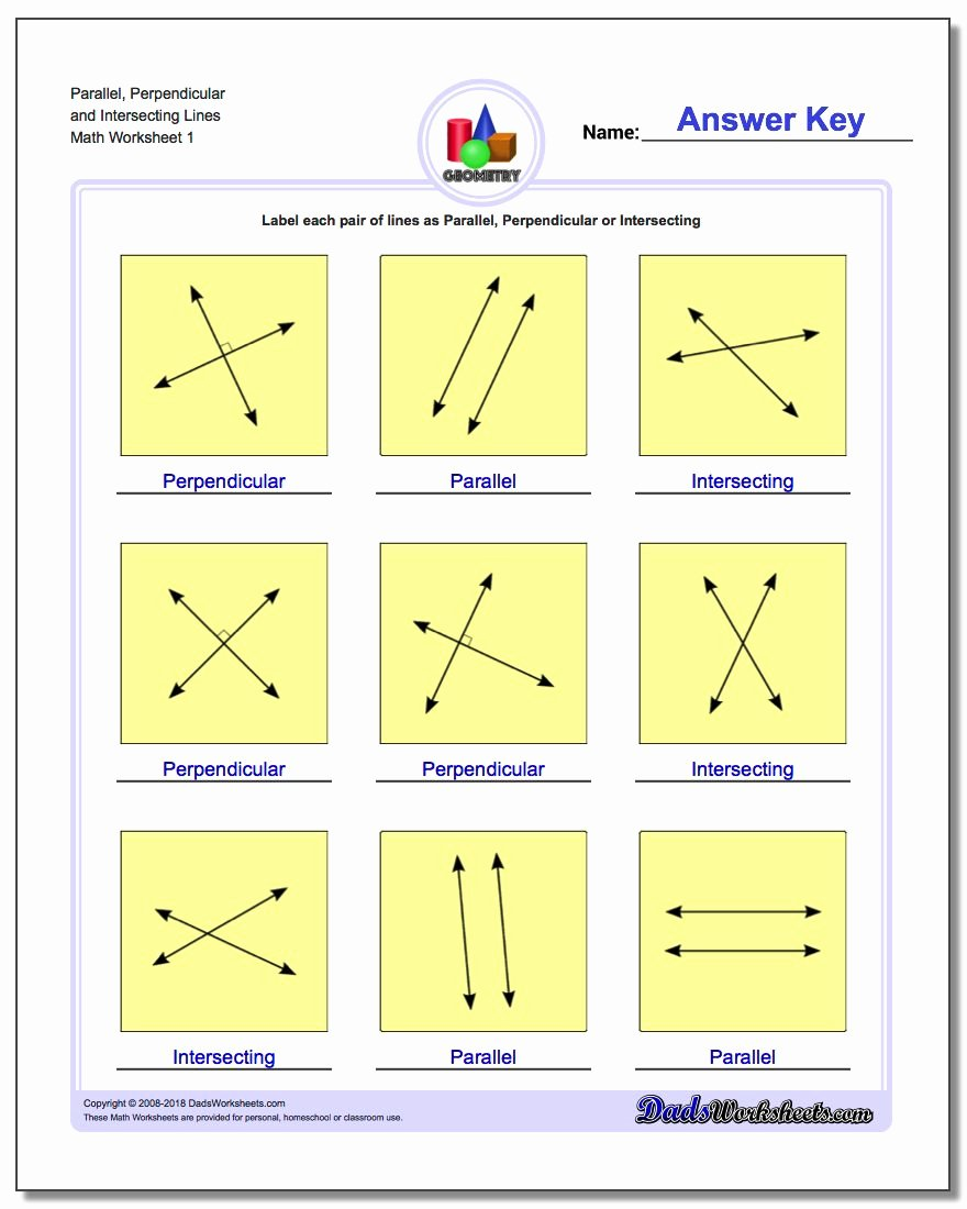 Parallel and Perpendicular Lines Worksheet Free Parallel Perpendicular Intersecting