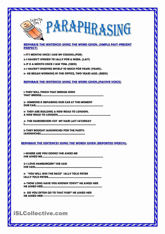 Paraphrasing Worksheets for Middle School Best Of Paraphrasing