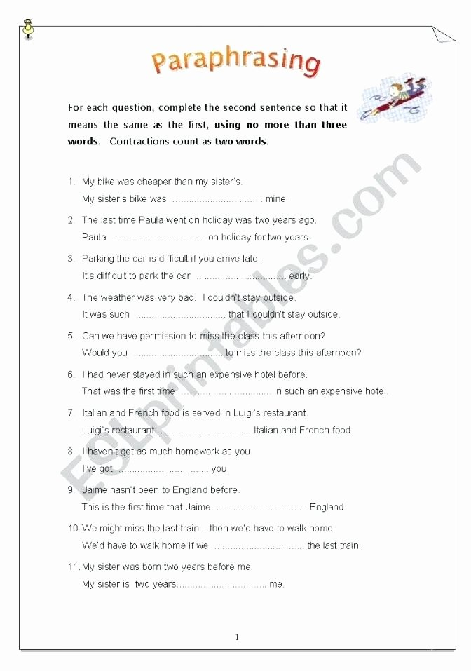 Paraphrasing Worksheets for Middle School Kids 20 Paraphrasing Worksheets Middle School