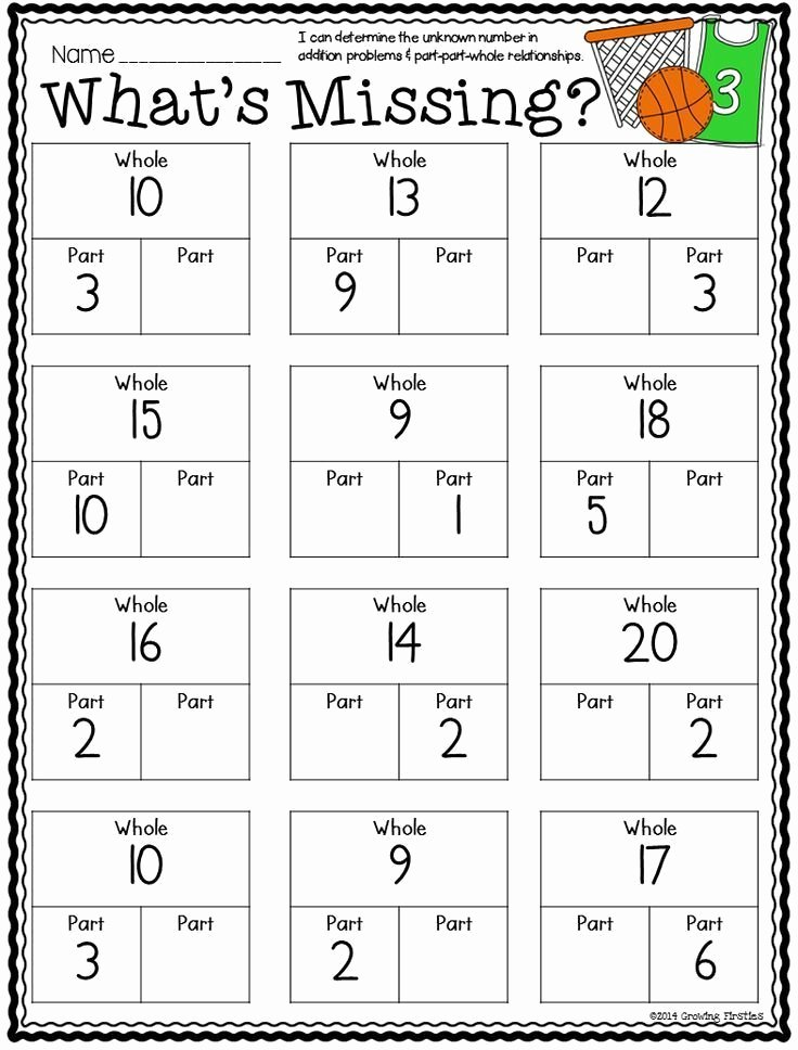 Part Part whole Math Worksheets Best Of Part Part whole and March Printables