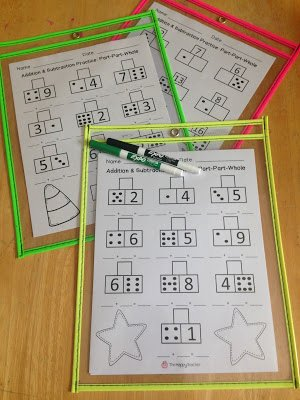 Part Part whole Math Worksheets Inspirational Addition and Subtraction Math Center Using Part Part whole