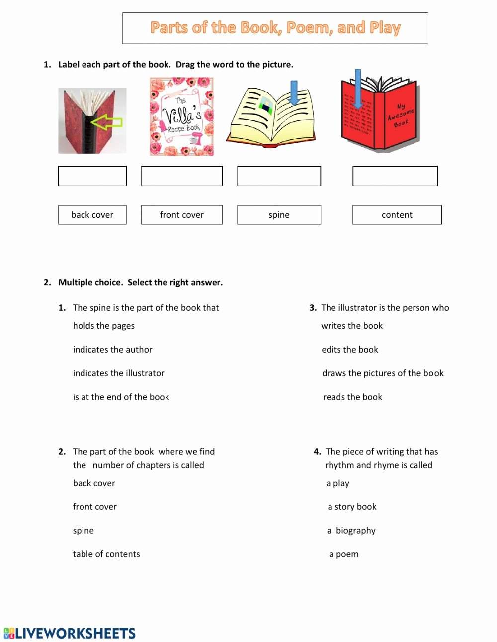 Parts Of A Book Worksheet Best Of Parts Of A Book Poem Interactive Worksheet