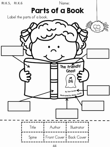 Parts Of A Book Worksheet Ideas Label the Parts Of A Book with A Halloween theme