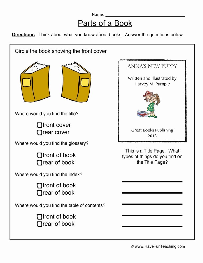 book parts worksheet