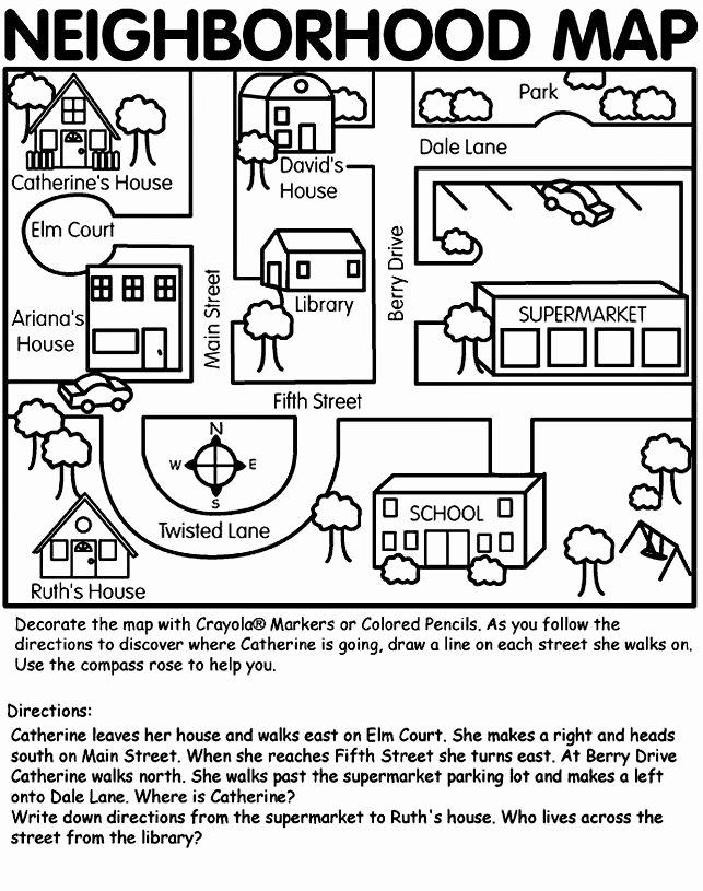 Parts Of A Map Worksheet Ideas Neighborhood Map On Crayola