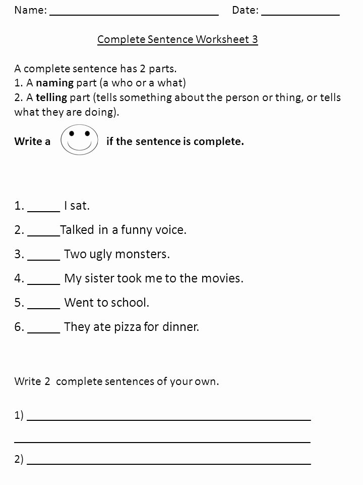 Parts Of A Sentence Worksheet Fresh Name Plete Sentence Worksheet 1 A Plete