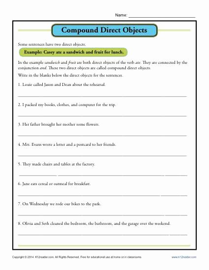 Parts Of A Sentence Worksheet Ideas Pound Direct Object Worksheet