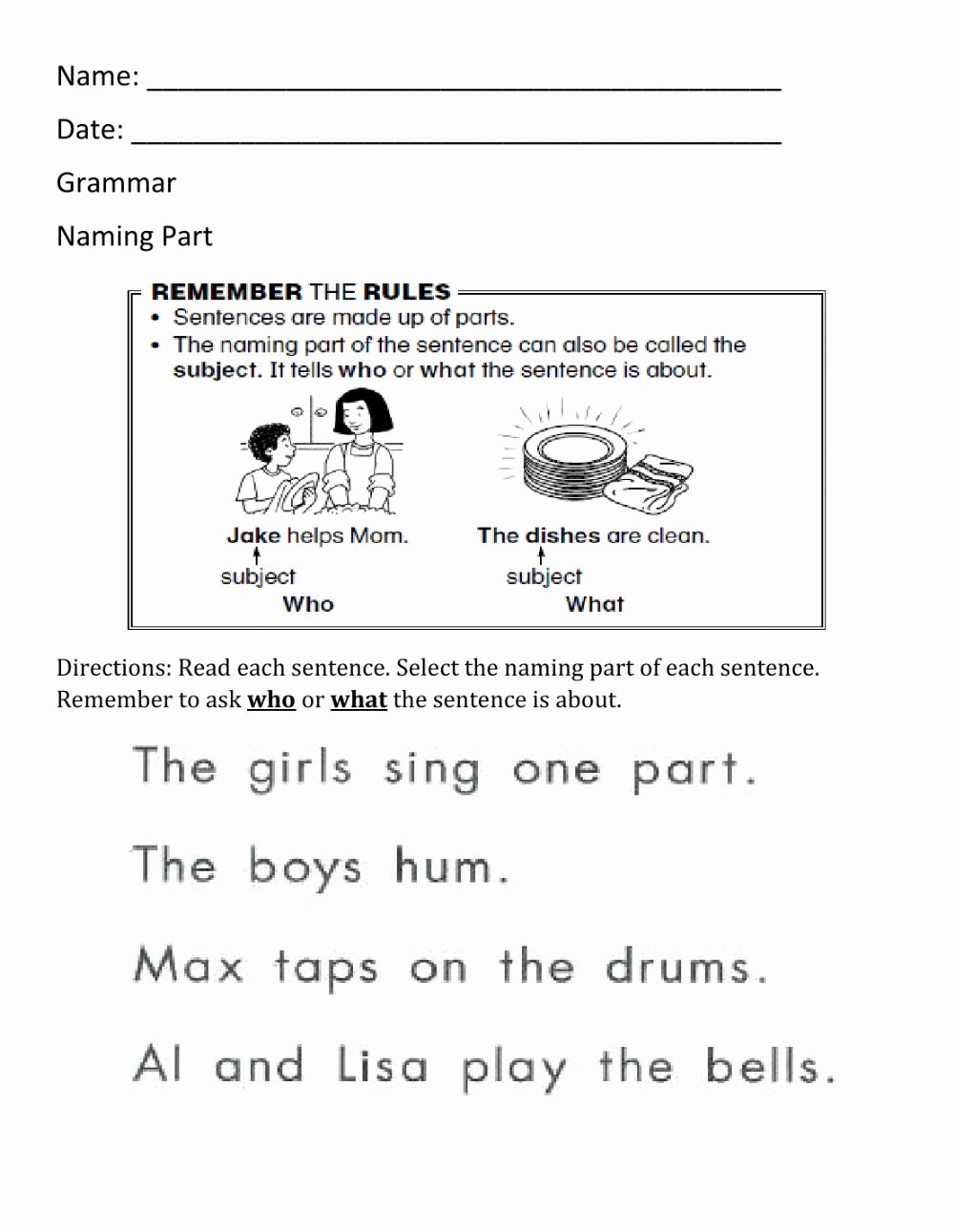 Parts Of A Sentence Worksheet Kids Naming Part Worksheet 1 Interactive Worksheet