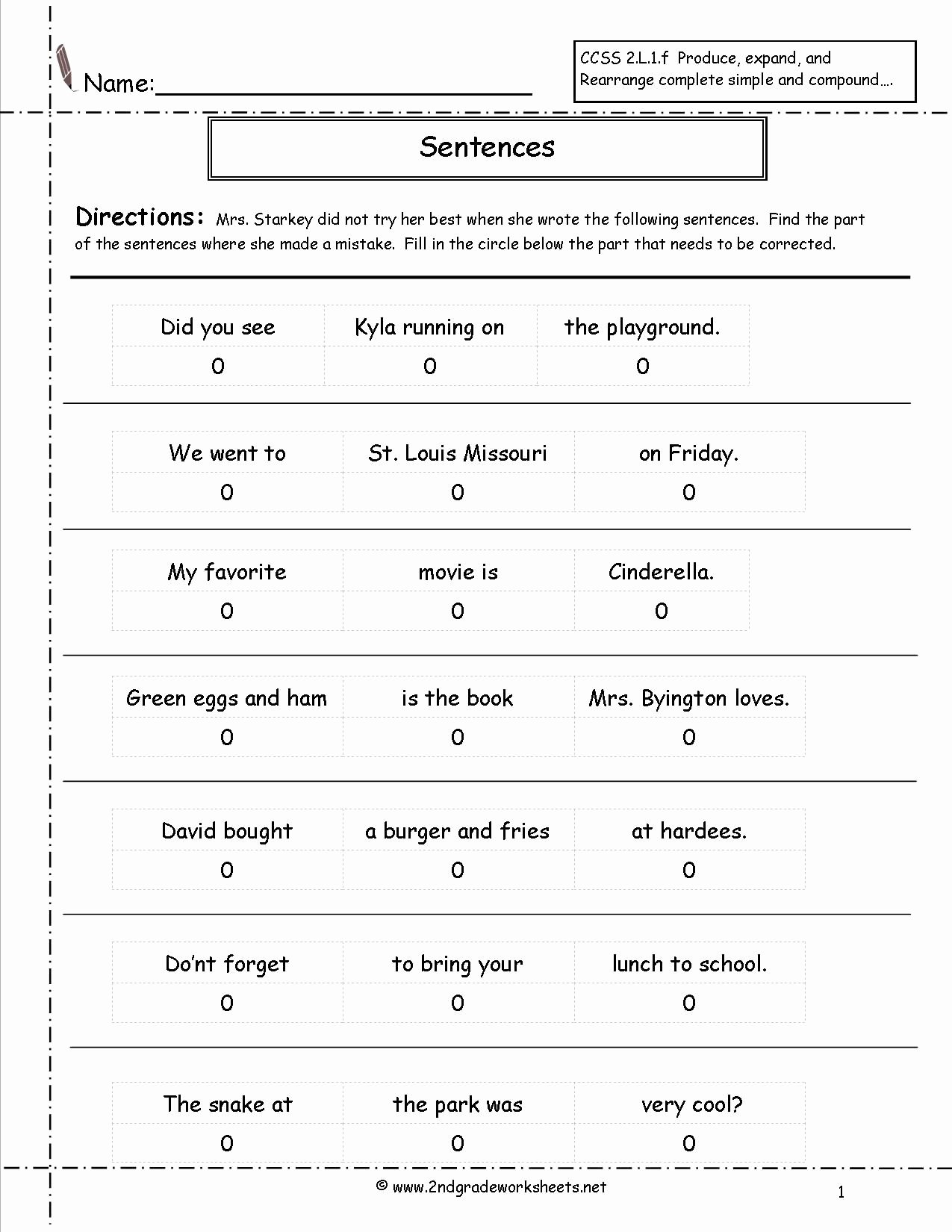 Parts Of A Sentence Worksheet top Correct the Sentence Worksheet