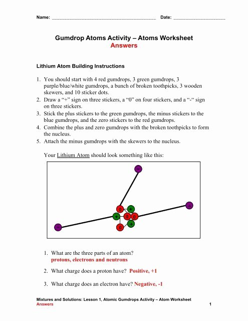 Parts Of An atom Worksheet Ideas Gumdrop atoms Activity – atoms Worksheet Teach Engineering