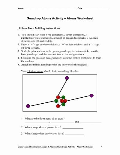 Parts Of An atom Worksheet top Gumdrop atoms Activity – atoms Worksheet Teach Engineering