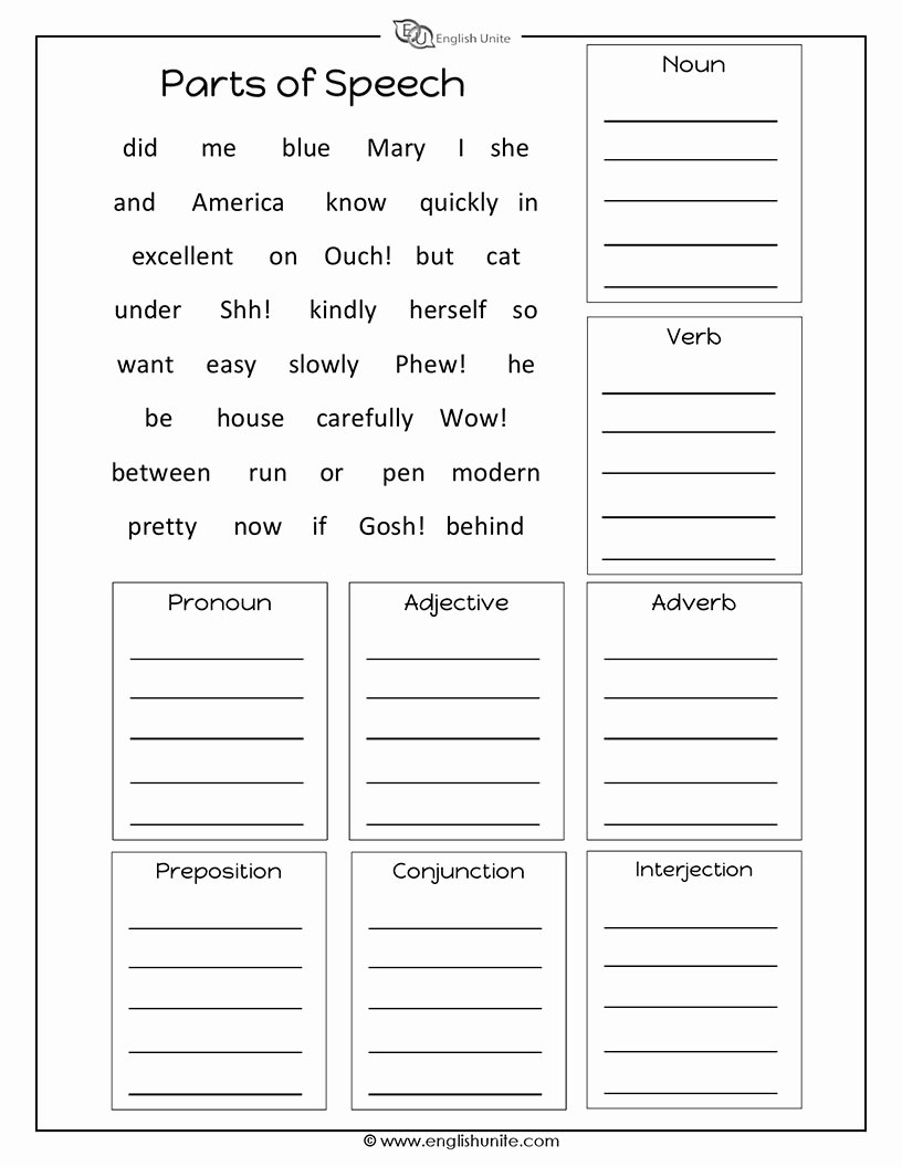 Parts Of Speech Printable Worksheets Free Parts Of Speech Worksheet English Unite