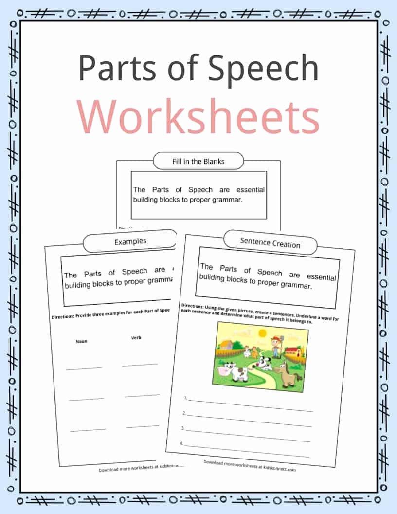 Parts Of Speech Printable Worksheets Printable Parts Of Speech Worksheets Examples & Definition for Kids