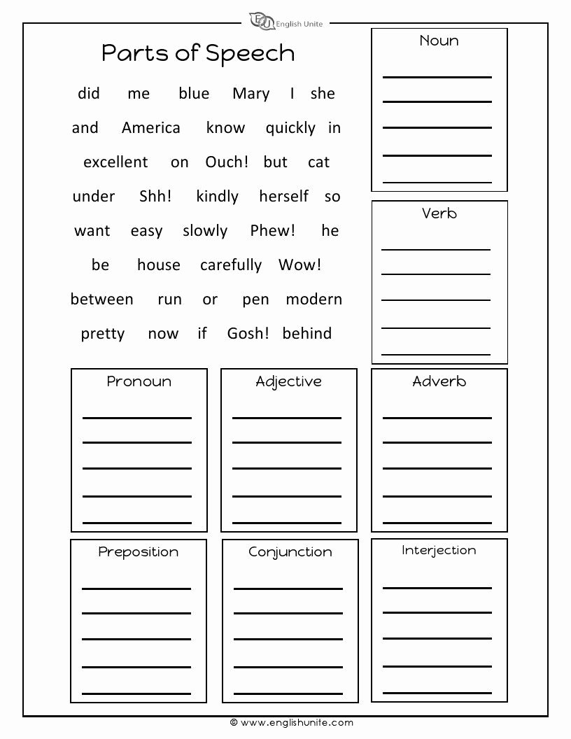 Parts Of Speech Printable Worksheets top Parts Of Speech Worksheet English Unite