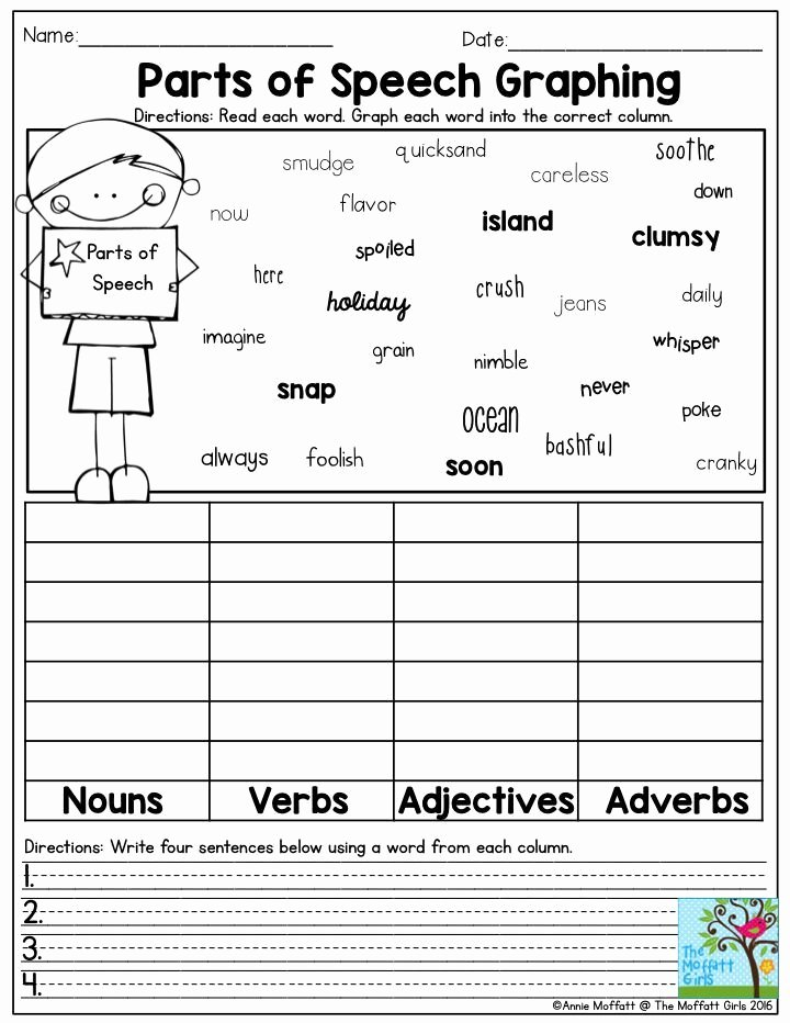 Parts Of Speech Review Worksheet Fresh Parts Of Speech Graphing Graphing Grammar Circle and Write