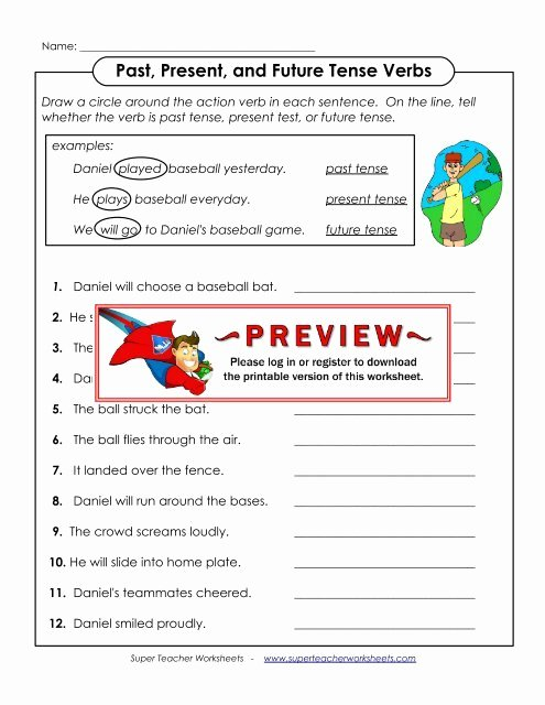 Past Present and Future Worksheets Free Past Present and Future Tense Verbs Super Teacher Worksheets