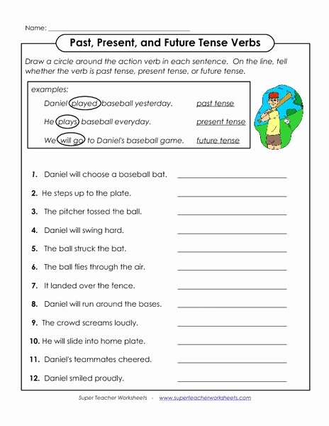 Past Present and Future Worksheets Kids Past Present and Future Tense Verbs Worksheet for 1st 2nd