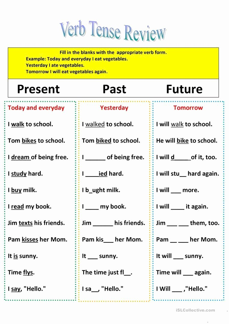 Past Present and Future Worksheets Kids Revision Of Verb Tenses Present Past and Future English