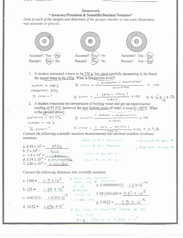 Percent Error Worksheet Answer Key Printable Accuracy and Precision Percent Error Worksheet Answers