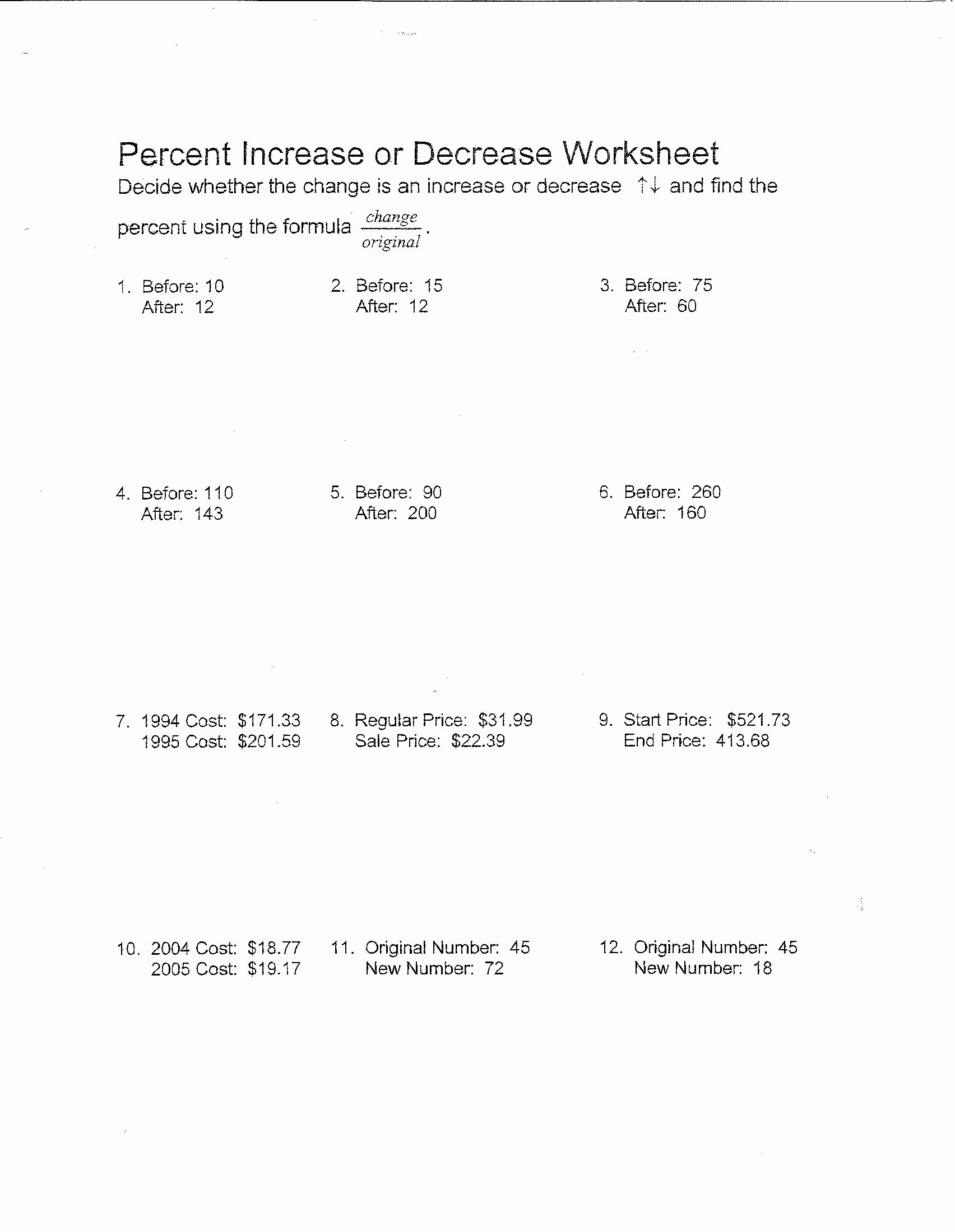 Percentage Increase and Decrease Worksheet Best Of Finding Percents Worksheets 6th Grade