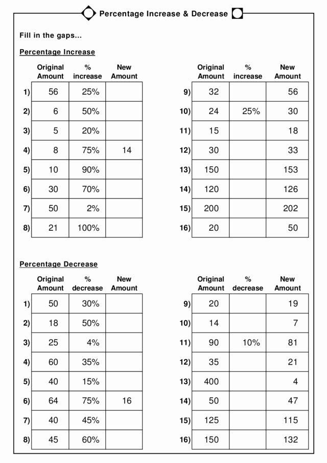 Percentage Increase and Decrease Worksheet Free Percentage Increase and Decrease Worksheet for 5th 6th