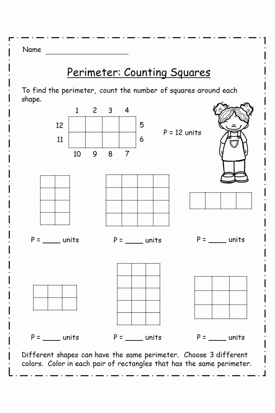 Perimeter Worksheet for 3rd Grade Kids Perimeter Worksheet for 3rd Grade In 2020