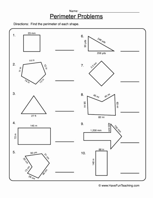 Perimeter Worksheet for 3rd Grade New Perimeter Worksheets • Have Fun Teaching
