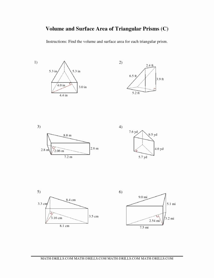 Perimeter Worksheets for 3rd Grade Fresh the Volume and Surface area Triangular Prisms Math