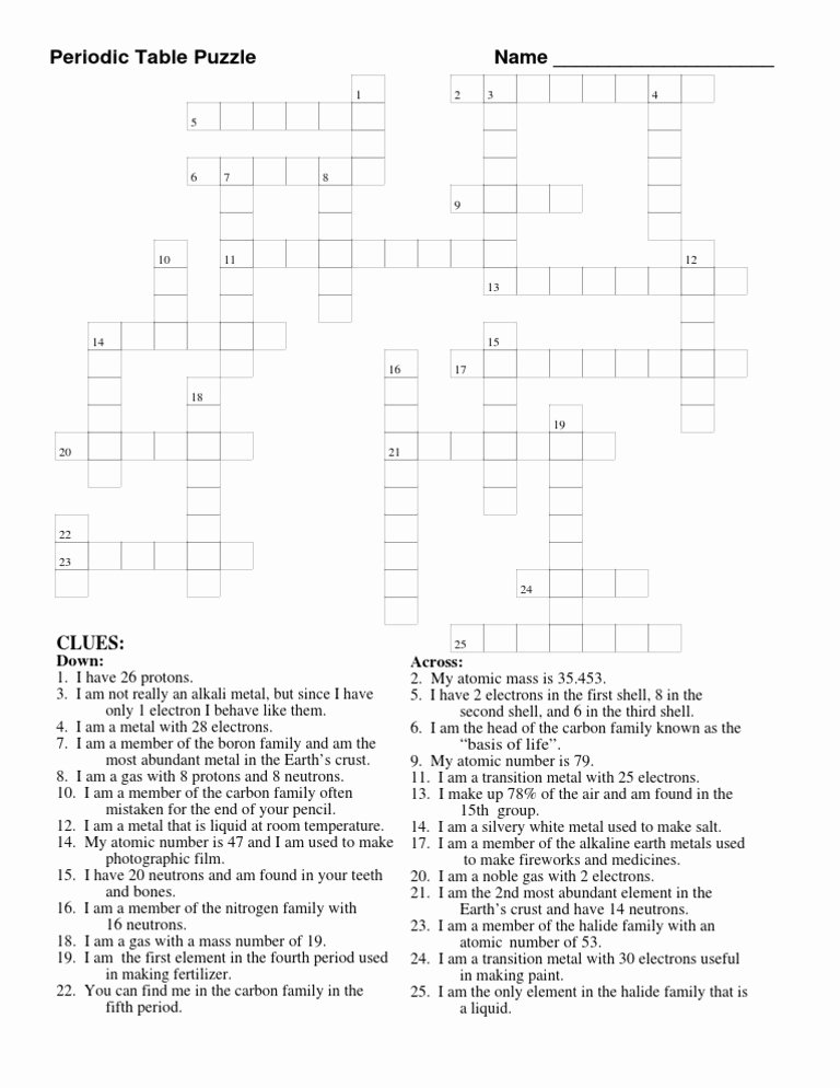 Periodic Table Puzzle Worksheet Answers Printable Periodic Table Puzzle Chemical Elements