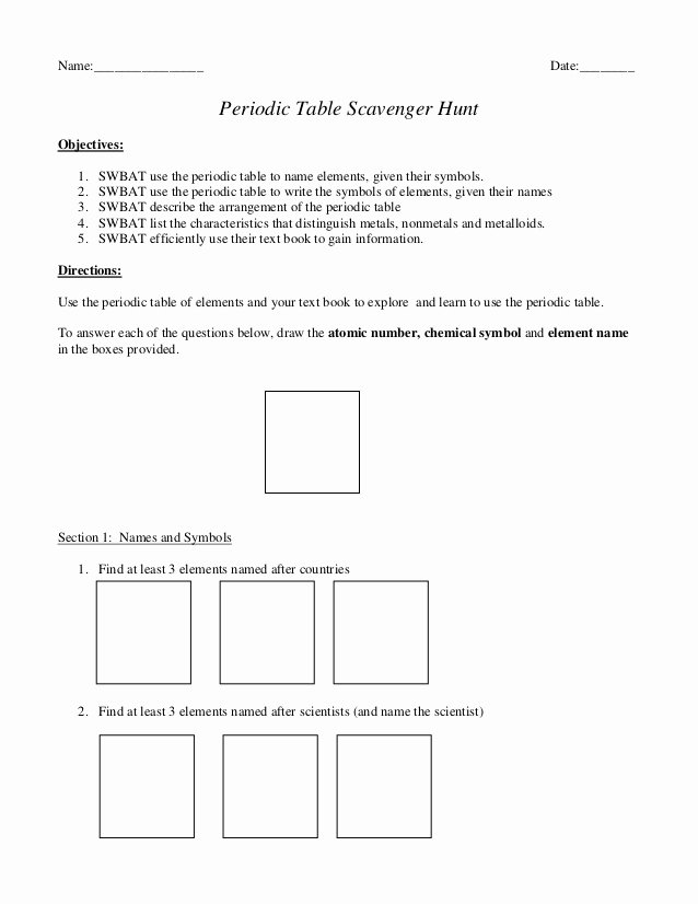 Periodic Table Scavenger Hunt Worksheet top Περιοδικός πίνακας κυνΠγι θυσαυρού